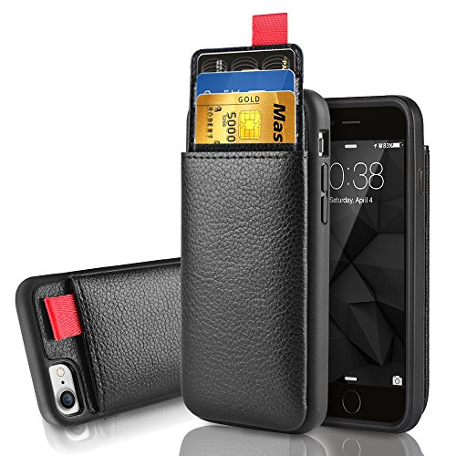 iPhone SE 2nd Generation Wallet Case, iPhone 7/8 Leather Case, LAMEEKU Shockproof case with ID Credit Card Slot Holder Money Pocket, Protective Cover for Apple iPhone 8/7/SE 4.7' -Black
