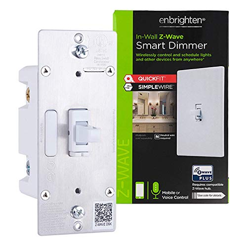 Enbrighten Z-Wave Plus Smart Light Dimmer with QuickFit and SimpleWire, 3-Way Ready, Compatible with Alexa, Google Assistant, ZWave Hub & Neutral Wire Required, Toggle, 46204