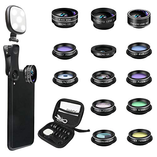 Godefa Phone Camera Lens Kit, 14 in 1 Lenses with Selfie Ring Light for iPhone 12, 11, Xs, Xr,8 7 6s Plus, Samsung and Other Andriod Smartphone, Universal Clip on Wide Angle+Macro+ Zoom Camera Lenses