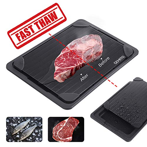 GEMITTO Defrosting Tray for Meat, High Density Aviation Aluminum Thawing Plate for Faster Defrosting Frozen Food, Quicker Safer Way to Defrost Meat Pork Beef Fish(Black Board with Drip Tray)