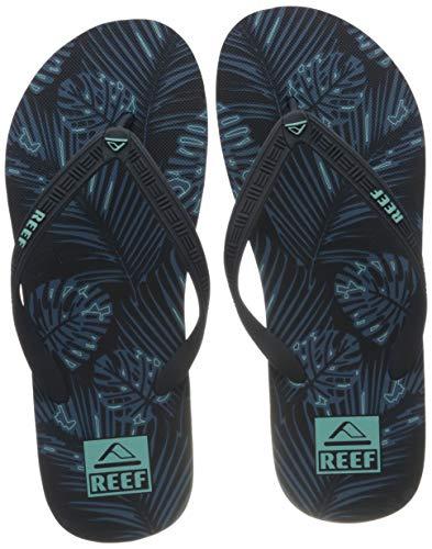 Reef Men's Seaside Prints Sandal, Navy Palm, 10