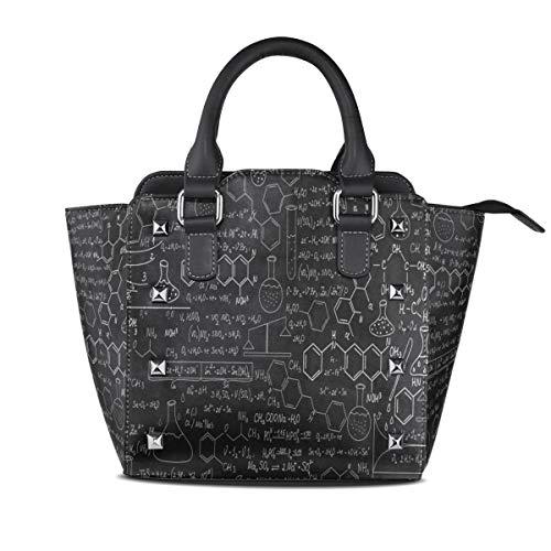 Educational Chemistry Formula Black Genuine Leather Handbags for Women Rivet Satchel Tote Shoulder Bag