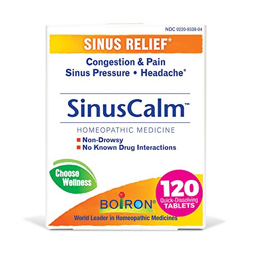 Boiron Sinuscalm Sinus Relief Medicine, Tablets for Runny Nose, Congestion, Sinus Pressure, Headache, Non-Drowsy, 120 Tablets, 120 Count