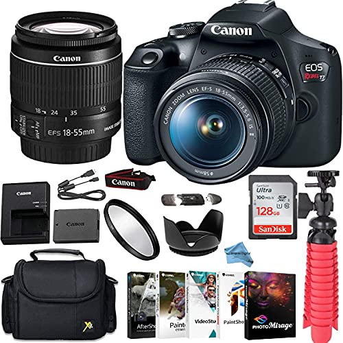 Canon EOS Rebel T7 DSLR Camera Bundle with Canon EF-S 18-55mm f/3.5-5.6 is II Lens + Gadget Case + Sandisk 128gb Ultra Memory Card + Photo Software Suite + Accessory Kit + Inspire Digital Cloth.