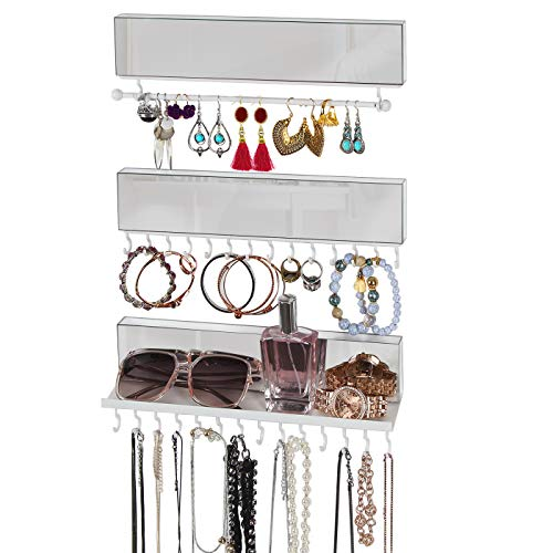 J JACKCUBE DESIGN Acrylic Mirror 3-Piece Wall Mounted Hanging Jewelry Organizer Necklace Holder with Removable Bracelet Rod and 28 Jewelry Hooks for Earrings and Bracelets- MK610A