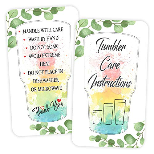 Tumbler Care Instruction Cards - (Pack of 100) 3.5' x 2' Package Insert for Tumbler Cleaning Customer Directions