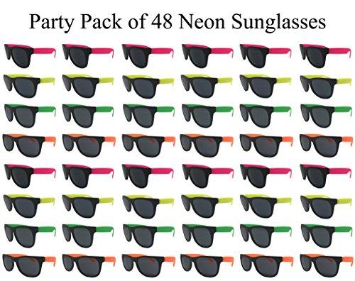 TheGag Neon Sunglasses Kids-Adults Bulk Party Pack 48 Green Pink Yellow Orange Sunglasses for Graduation Mardi Gras Holidays Birthdays UV 400 Protection Better Quality