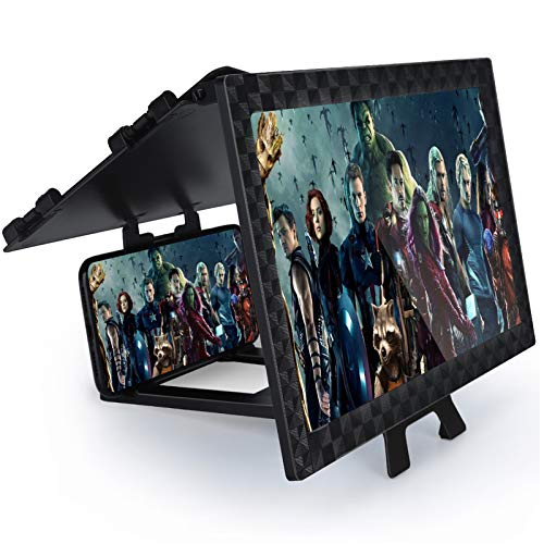 Screen Magnifier 12'' for Mobile Phone, 3D Phone Screen Enlarger for Video, Movies, and Games, Screen Expander Full Coverage Foldable Phone Stand with HD Screen Amplifier, Suitable for All Smartphones
