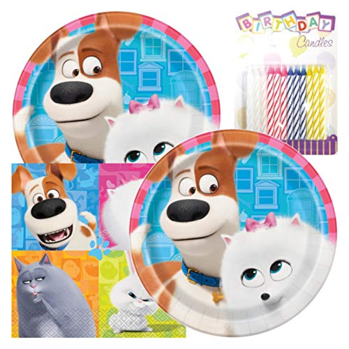 The Secret LIF of Pets 2 Themed Party Pack – Includes Paper Plates & Luncheon Napkins Plus 24 Birthday Candles – Serves 16
