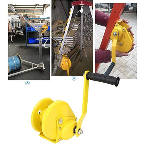 Manual Winch, Self-Locking Pulling Hand Winch Tool, 1200 lbs Bidirectional Winch Hardware Accessory, for Lifting in Industry Gardening Yacht, Yellow