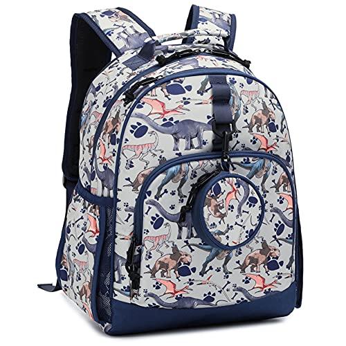 Choco Mocha Dinosaur Backpack for Boys School Backpacks for Elementary 17 inch Kids Backpacks for Boys Kindergarten Backpack for Boys Bookbags with Chest Strap 8-10 8-12 Gift Grey