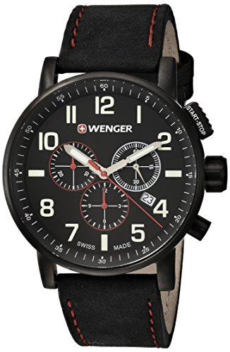 Wenger Men's Attitude Chrono Stainless Steel Swiss-Quartz Watch with Leather Calfskin Strap, Black, 21 (Model: 01.0343.104)