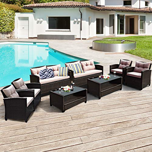 Tangkula 8-Piece Patio Furniture Set, Rattan Wicker Chair Set with 2 Loveseat, 4 Single Sofas, 2 Coffee Table with Tempered Glass Top, Outdoor Furniture Sets for Backyard, Porch, Garden and Poolside