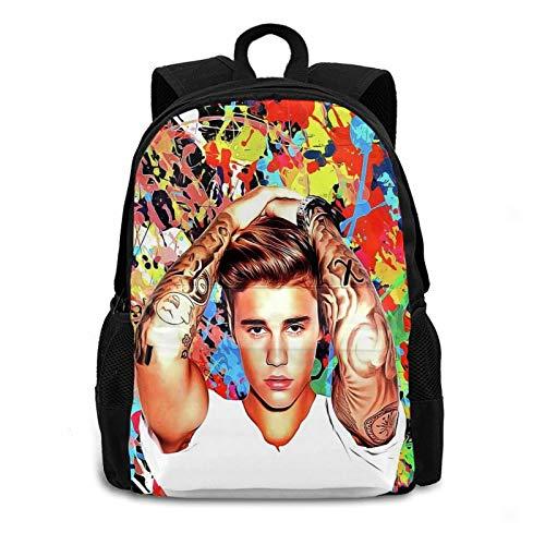 CAPTIVATE HEART Justin Bie-BER Backpack Travel Laptop Durable Polyester Unisex Casual Shoulders Bag for Men Women