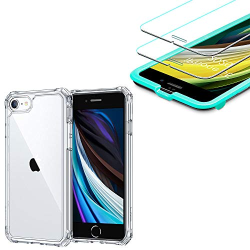 ESR Air Armor Designed for iPhone SE 2020 Case/iPhone 8 Case + [2-Pack] iPhone 8/7/6s/6 Screen Protector
