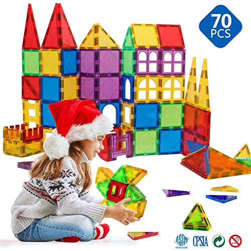 Magnetic Blocks - Magnetic Toys for Toddlers Kids Magnetic Building Blocks Preschool Magnet Set Magnetic Stem Toys 70 Pieces