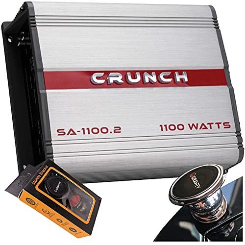 Crunch SA-1100.2 Smash Series 1,100-Watt 2-Channel Class AB Amp Car Audio Sound System Subwoofer Speaker Amp Amplifier with Gravity Magnet Phone Holder Bundle