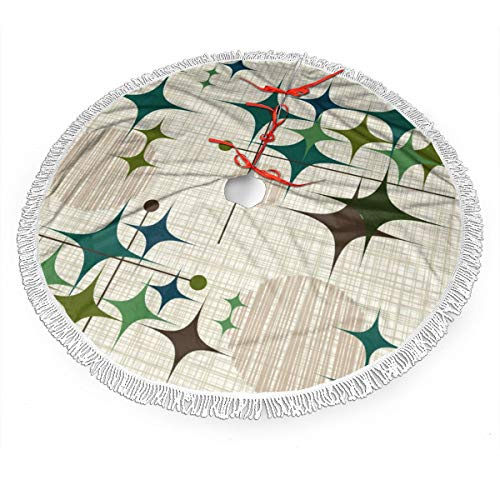 SSLife Mid Century Modern Starbursts and Globes Christmas Tree Skirt Xmas Tree Skirt Christmas Decorations for Xmas Festive Holiday Ornament New Year Party 30'' 36'' 48