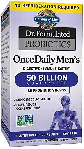 Probiotics for Men & Adults - Garden of Life Dr. Formulated Once Daily Men's Probiotics 50 Billion CFU Daily Probiotic for Constipation Relief with Organic Prebiotic, 30 Capsules *Packaging May Vary*