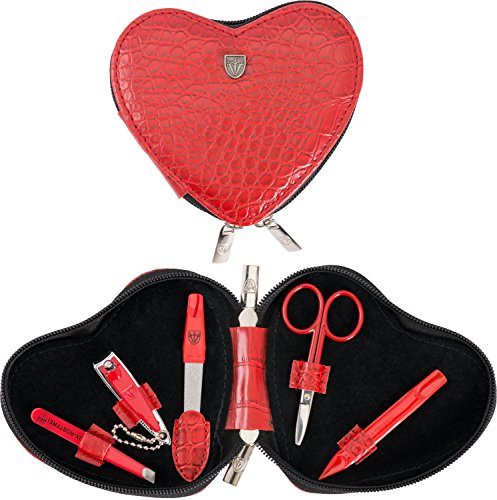 3 Swords Germany - brand quality 5 piece manicure pedicure kit set for KIDS - CHILDREN - TODDLERS with special scissors (round tip) fashion leather case in gift box, Made by 3 Swords (03751)