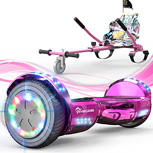 EVERCROSS Hoverboard, 6.5' Self Balancing Scooter Hoverboard with Seat Attachment, Hover Board Scooter with Bluetooth & Colorful LED Light, Hoverboards for Kids and Adults