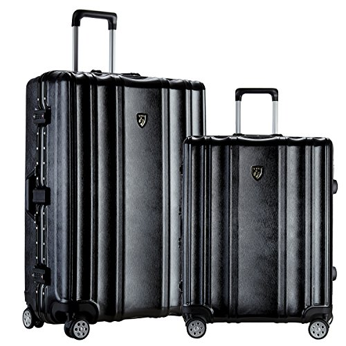 TPRC 2 Piece 'Donna Collection' Surdy Aluminum Frame, WIDE-BODY, Color-Coordinated Accented Luggage with Dual TSA Locks Includes 28' Suitcase and 20' Carry-On Luggage, Black Color Option