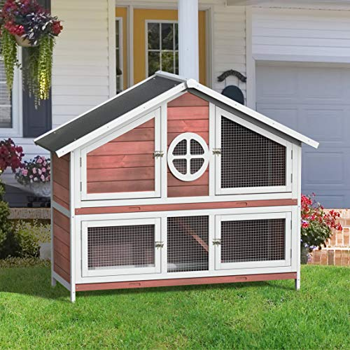 Merax 50' Rabbit Hutch Pet Bunny Cage Wood Small Animals House for Outdoor/Indoor Use