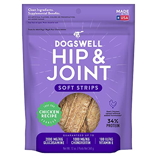 DOGSWELL Hip & Joint Dog Treats 100% Meaty, Grain Free, Glucosamine Chondroitin & Omega 3, Chicken Soft Strips 12 oz