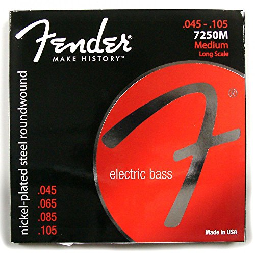 Fender 7250M Nickel Plated Steel Roundwound Long Scale Electric Bass Guitar Strings - Medium