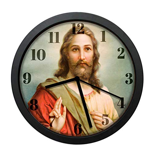 Dadidyc Jesus Christ Wall Clock Decor for Bedroom Nursery Round Silent Clock Art for Kids Girls Boys Room Christian Gifts 10IN