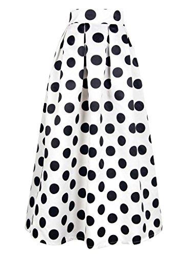 PERSUN Women's Casual High Waist A-Line Polka Dots Print Long Maxi Skirt White