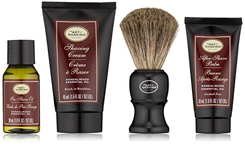 The Art of Shaving Shaving Kit for Men - 4 Elements of the Perfect Shave with Shaving Cream, Shaving Brush, After Shave Balm, & Pre Shave Oil, Sandalwood