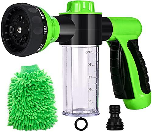Hose Spray Nozzle, High Pressure Garden Hose Nozzle 8 Way Spray Pattern with 3.5oz/100cc Soap Dispenser Bottle Car Wash Foam Gun for Watering Plants, Lawn, Patio, Cleaning, Showering Pet