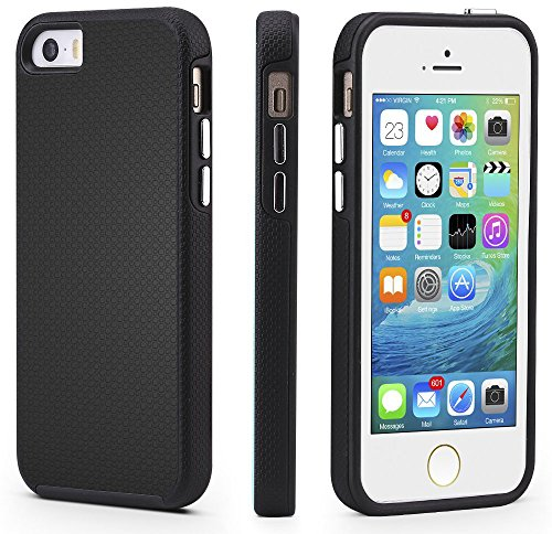 CellEver iPhone 5/5s/SE Case, Dual Guard Protective Shock-Absorbing Scratch-Resistant Rugged Drop Protection Cover for iPhone 5/5S/SE (Black)