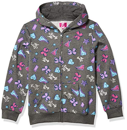 Nickelodeon JoJo Siwa Girls Hoodie Bow Unicorn Pink Zippered Jacket Hooded, Charcoal Heather, L (10-12)