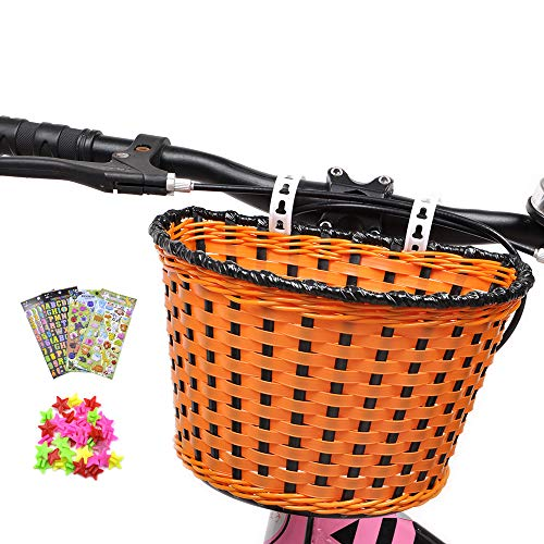 Kid's Bike Basket, Front Handlebar Boy's Bicycle Basket with 3 Pcs Alphabet Flower Animal Stickers, 36 Pcs Bike Wheel Spokes for Kids Chirlden Gift DIY Sets - Khaki