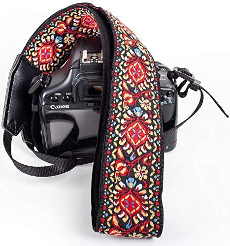 Red Woven Vintage Camera Strap for All DSLR Camera. Embroidered Elegant Universal Neck & Shoulder Strap, Floral Pattern Strap Best Stocking Stuffer for Men & Women Photographers