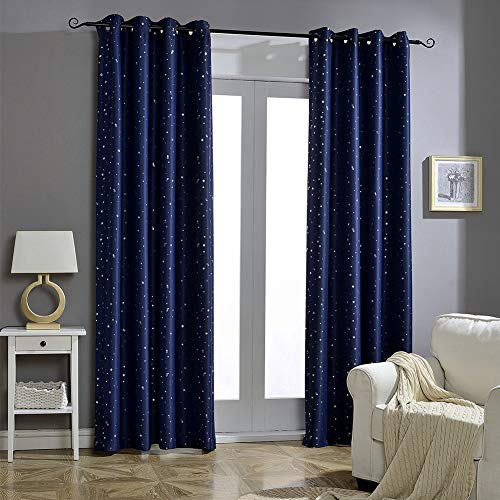 Jaoul Space Curtains Night Sky Twinkle Constellation Kids Blackout Curtains for Bedroom Space Theme Window Grommet Nursery Drape 52' Wx84 L Pack 2 Panel, Navy Blue