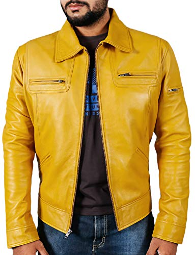Laverapelle Men's Genuine Lambskin Leather Jacket (Yellow, 2XL, Polyester Lining)-1501200