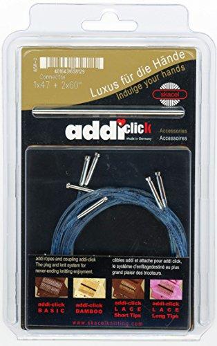 addi Knitting Needle Click Turbo Basic Set Interchangeable Skacel Exclusive Blue Cord w/Connector 1 x 47 inch (120 cm) 2 x 60 inch (150 cm)