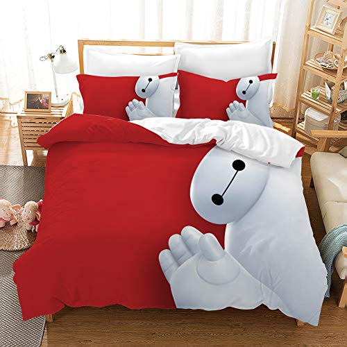 EVDAY Baymax Duvet Cover Set for Kids Ultra Soft Cartoon Film Big Hero 6 Theme 3D Design Printing Boys Girls Bed Set Including 1Duvet Cover,2Pillowcases Twin Size