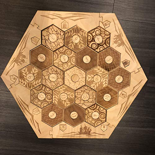 Wooden Game Board With Custom Laser Etched Terrain, Border and Number Tokens Compatible with Settlers of Catan Wooden Board Game