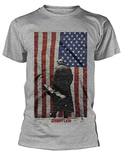 Johnny Cash 'American Flag' T-Shirt (Medium) Grey