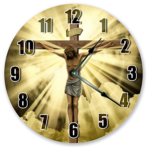 10.5' JESUS AT THE CROSS CLOCK - Large 10.5' Wall Clock - Home Décor Clock