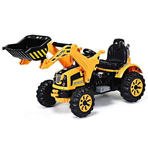 Costzon 12V Battery Powered Kids Ride On Excavator, Electric Truck with High/Low Speed, Moving Forward/Backward, Front Loader Digger (Yellow)