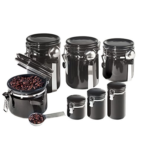BLACK 7 PC ROUND CANISTER SET WITH SPOONS
