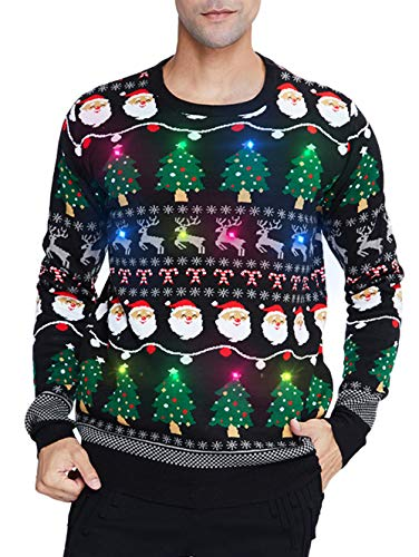 uideazone Men Women Light Up Ugly Christmas Sweater Christmas Tree Graphic Reindeer Vintage Knitted Xmas Pullover Jumper Oversized