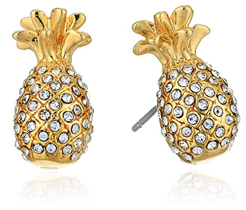 Kate Spade New York By The Pool Pave Pineapple Mini Studs Earrings Clear/Gold One Size