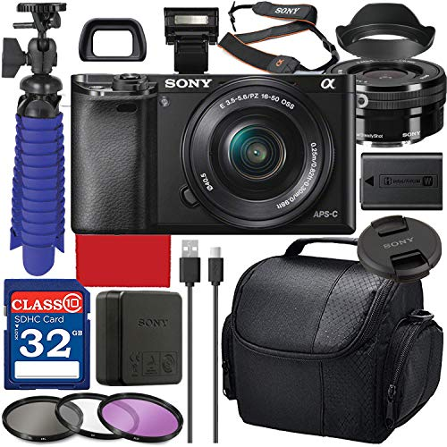 Sony Alpha a6000 Digital Camera with 16-50mm Lens (Black ILCE-6000L/B) Bundle with Accessory Package Including 32GB Memory, Spider Vlog Tripod & More (16 Pieces)
