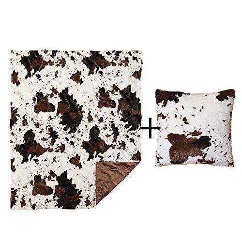 North End Decor Faux Fur Cowhide Plush Pillow & Blanket Throw Pillows, White
